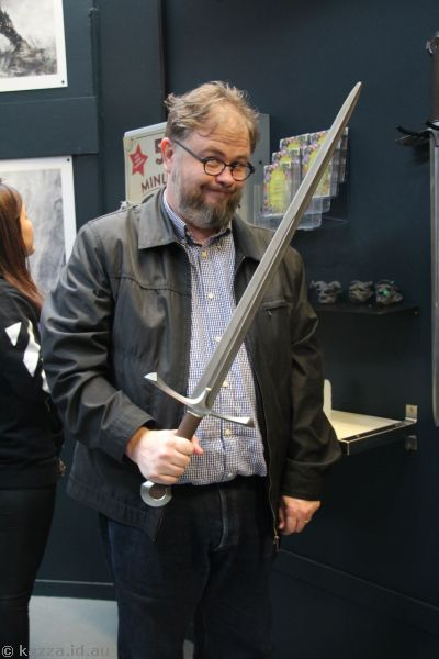 Stu with a sword in the Weta Cave