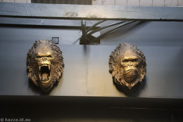 Ape sculptures in Weta Cave