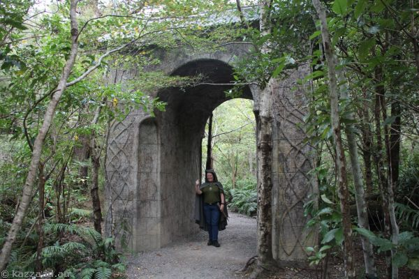 Kaz at Rivendell.  This gate was not in the movie, they recreated one to put there for tourists