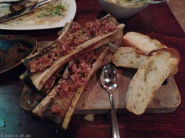 Roasted bone marrow with bacon marmalade and house-made bread
