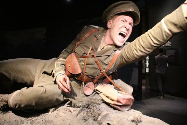 Sculpture of Lieutenant Spencer Westmacott in the Gallipoli exhibition