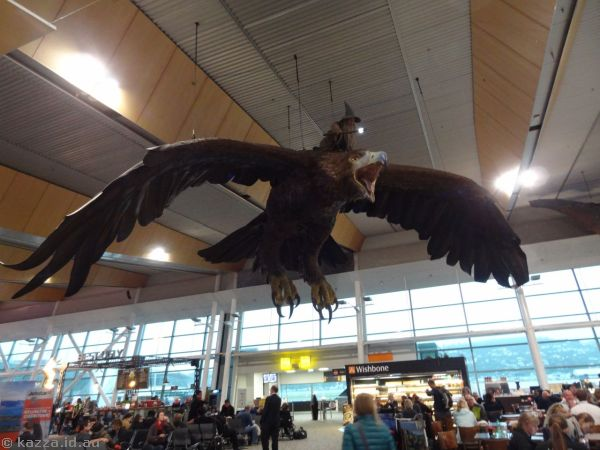 Gandalf flying on an Eagle in Wellington Airport
