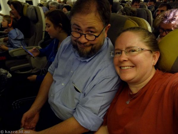 Stu and Kaz on the plane about to go home