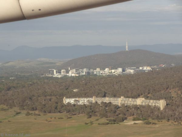 Looking towards Civic and Canberra after takeoff