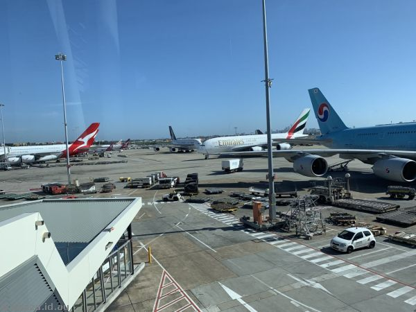 Four A380s!  Qantas A380, Singapore Airlines A380, Emirates A380 and Korean Air A380