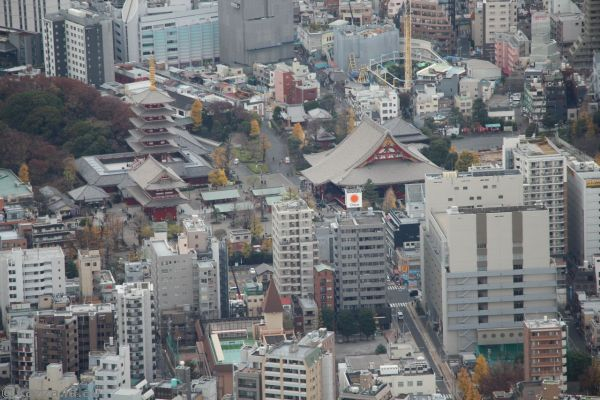 Asakusa from the Tokyo Skytree at the 350m level