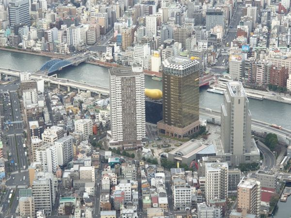 Asahi beer tower from 350m level<br>Photo by Stu