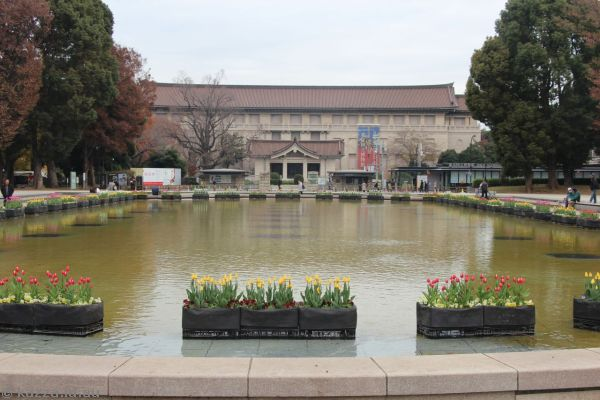 Ueno Park fountain and Tokyo National Museum