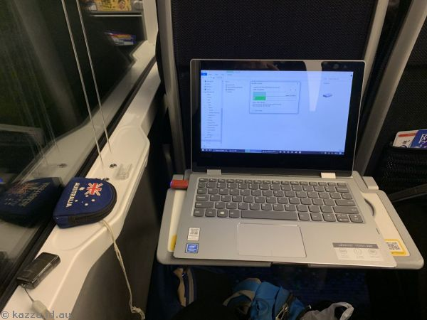 My laptop setup on the train on the way to the airport