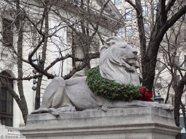 Lion outside New York Public Library