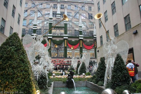 Christmas decorations in the Channel Gardens
