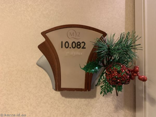Room 10082 sign with Christmas decorations