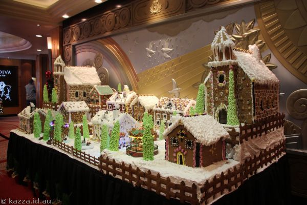 Gingerbread village created for Christmas on the Queen Mary 2