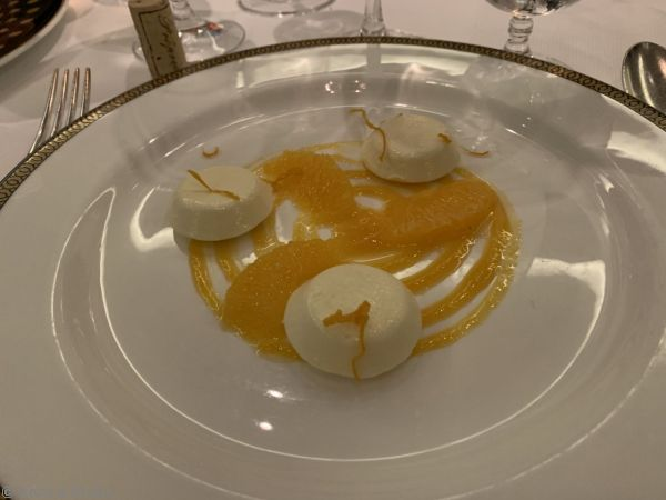 Iced grand marnier parfait, with orange sauce, that I had for dessert