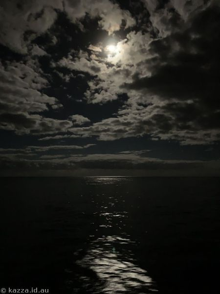 Moon over the North Atlantic from our balcony