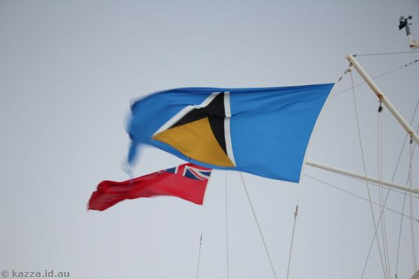 St Lucia flag on Queen Mary 2