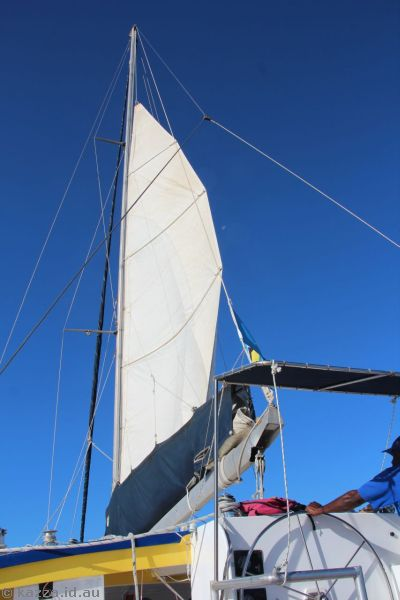 The sails on the catamaran were just for show