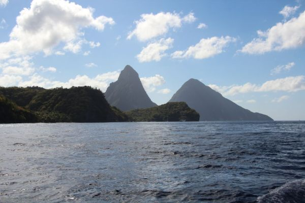 St Lucia and the Pitons from the catamaran tour