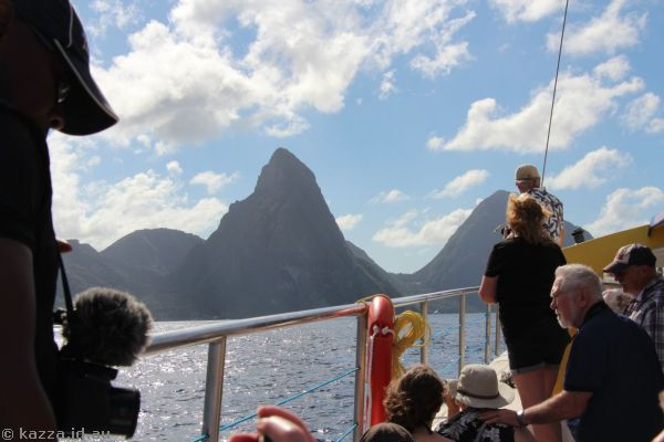 My view of the Pitons - lots of people in the way