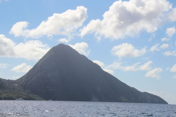The Pitons from the catamaran tour