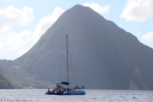 Passion catamaran and the Pitons off St Lucia
