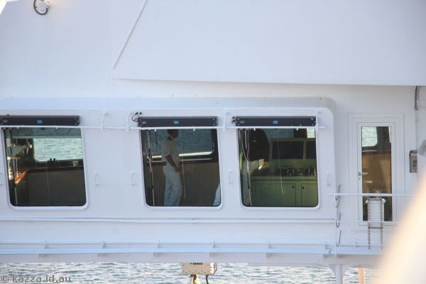 Looking into the bridge of the Queen Mary 2