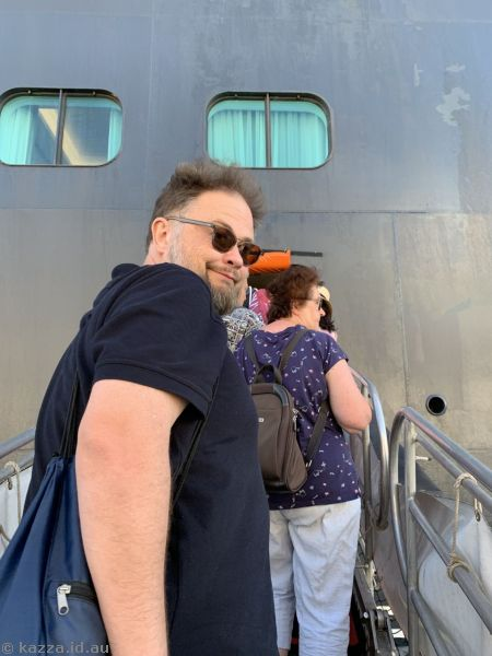 Stu about to board the Queen Mary 2 at St Thomas - possibly our last time ever boarding the Queen Mary 2