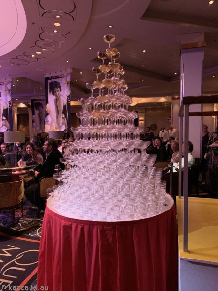 Champagne tower in the Queens Room
