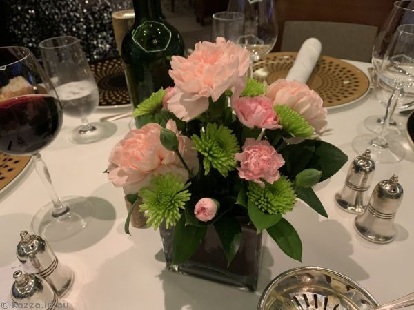 Flowers on our table at dinner on the final night of the cruise