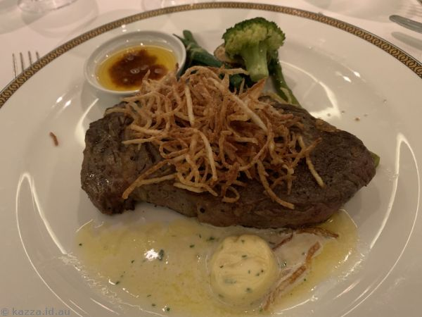 Grilled 28 day aged rib eye steak, beurre maitre d'hotel, pommes paille and gentlement's relish that I had for mains