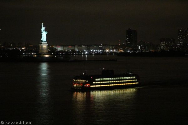 Statue of Liberty and Staten Island Ferry from Queen Mary 2
