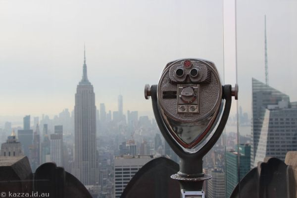 Empire State Building and binoculars at Top of the Rock