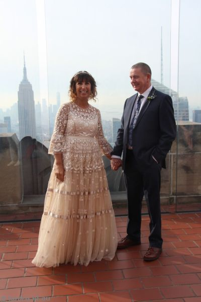 Bride and groom at Top of the Rock