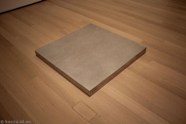 A cubic foot of steel pressed between my palms, by Bruce Nauman (1968)