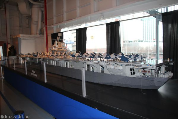 1:40 scale replica of the USS Intrepid made out of Lego