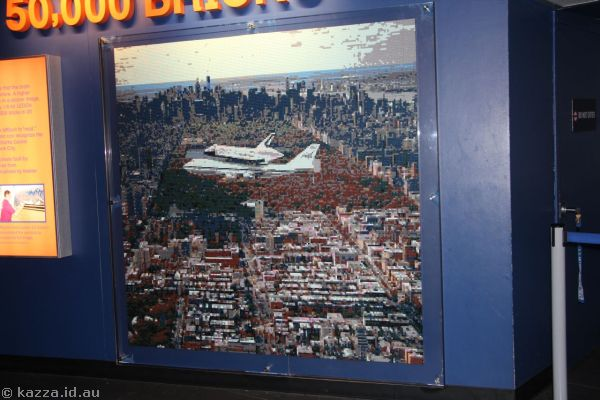 Lego mosaic of Space Shuttle over New York