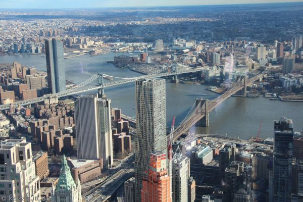 View northeast to East River and bridges