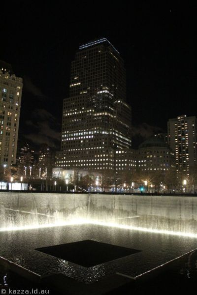 South Tower Memorial Pool by night