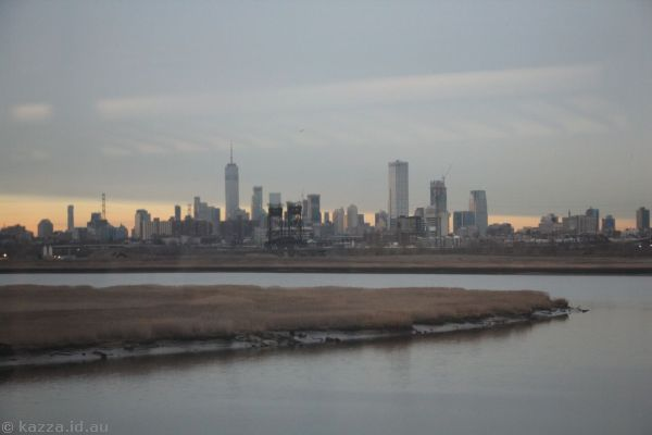Looking back to New York from the train to Newark
