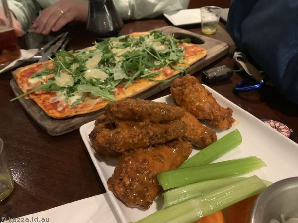 Margherita flatbread pizza and wings we had for dinner
