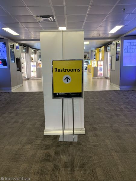 This airport was so badly signposted they needed to put in temporary signs just to let you know where the toilets are