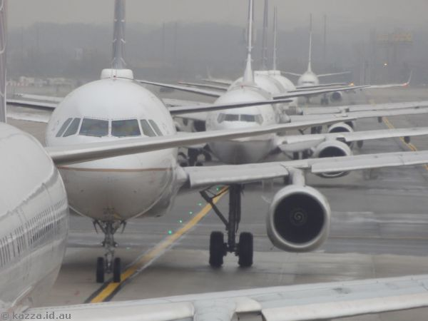 Aircraft queued for departure at Newark Airport
