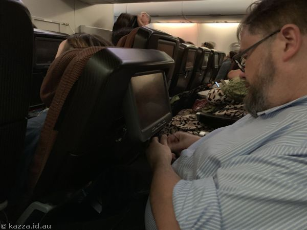 The poor sweetie had no room at all the *entire* flight
