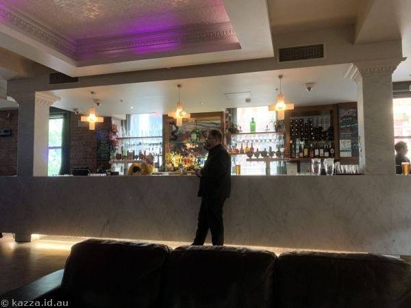 Stu at the bar in the Exford Hotel