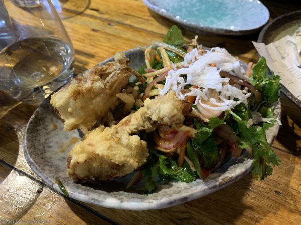 Soft Shell Crab Salad ($16) - crispy soft shell crab with a green mango, coconut and herb salad