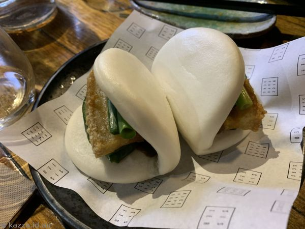 Steamed Pork Buns ($15) - with pork belly, cucumber, shallots and hoisin sauce