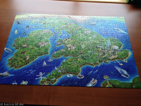 British Isles jigsaws.  Started in Sydney by others, finished in Hong Kong when I boarded - 1500 pieces