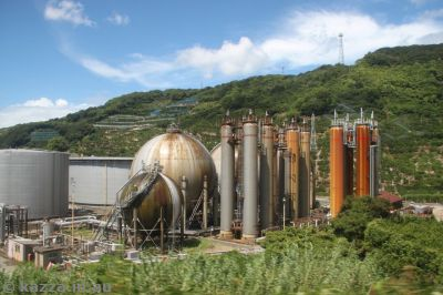 Refinery and gas storage at Hatsushima