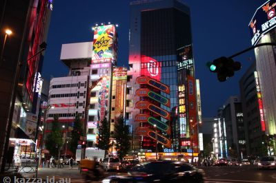 Akihabara buildings by night