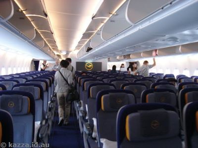 Boarding the A380 - economy class section